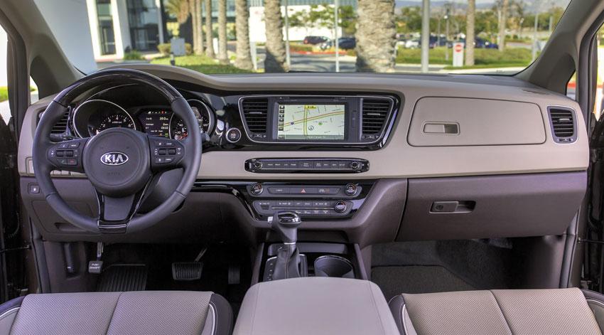 Interior view of the 2016 Kia Sedona SX Limited, 2015 model shown. (Courtesy: Kia Motors America)