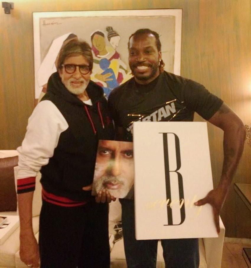 Amitabh Bachchan seen here with West Indies batsman Chris Gayle (r), in Mumbai, Mar. 29. (PTI | Facebook)