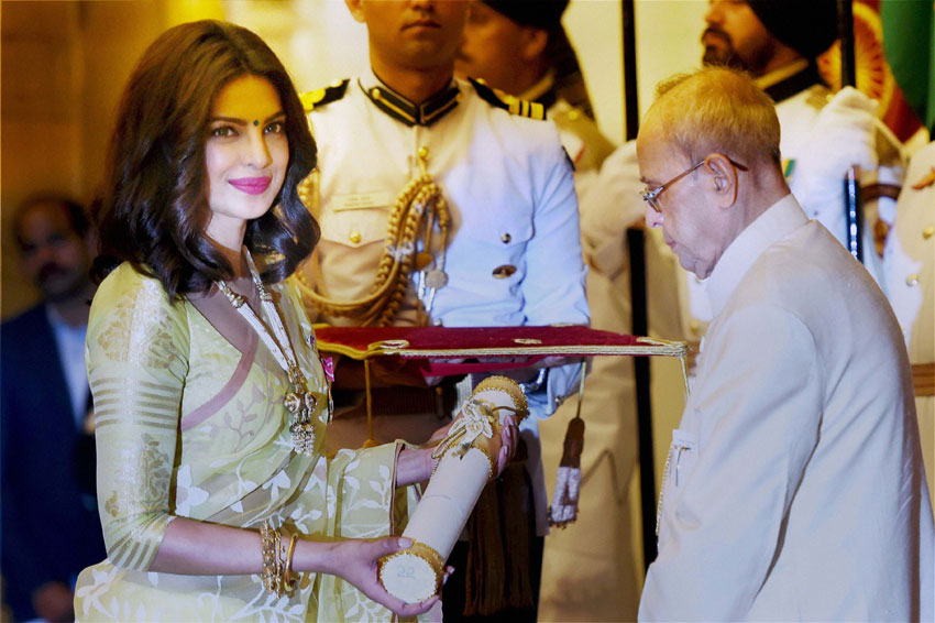 President Pranab Mukherjee presents Padma Shri to Priyanka Chopra  (l), at the 2016 Padma Awards function at Rashtrapati Bhavan in New Delhi, April 12. (Subhav Shukla | PTI)