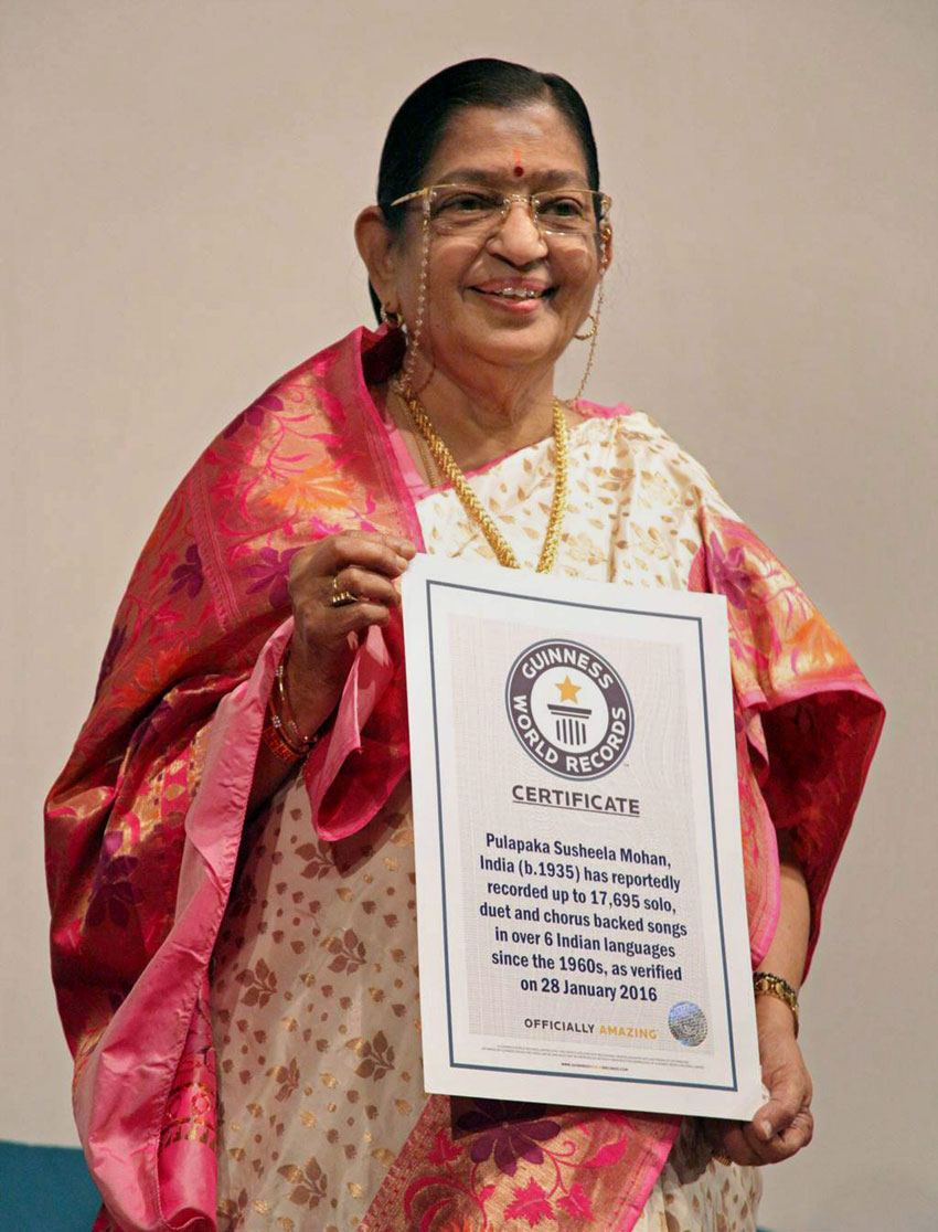 Legendary playback singer P. Susheela holds certificate of Guinness World Records title for the highest number of solo, duet and chorus backed songs in over six Indian languages. In an official certificate presented by Guinness it was verified that she has sung 17,695 solo, duet and chorus backed songs as of Jan. 28. (Press Trust of India)