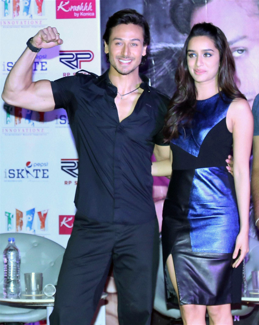 Tiger Shroff and Shradha Kapoor at a promotional event of their film 'Baaghi' in Gurgaon, April 26. (Press Trust of India)