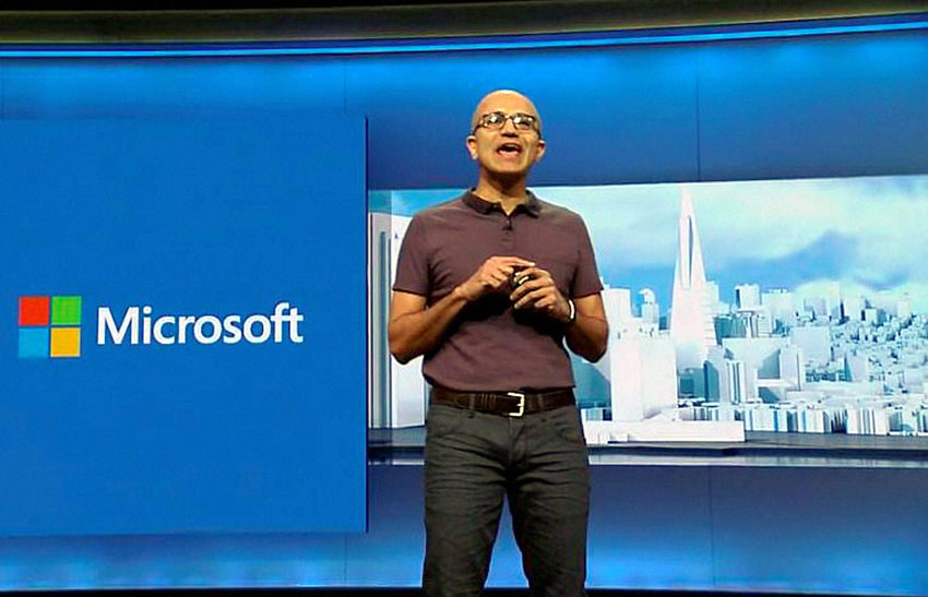 Microsoft CEO Satya Nadella giving the keynote address at the Microsoft's annual developer conference 'Build 2016'  in San Francisco, Mar. 30. (Press Trust of India)