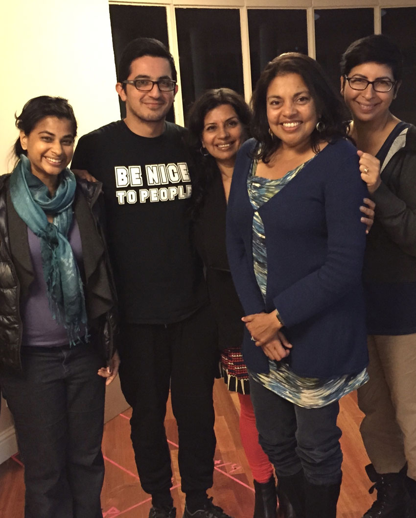 Artists at Rickshaw Girl workshop, l. to r., actors Radhika Rao and Salim Razawi, Director Vidhu Singh, Author Mitali Perkins, Playwright Aditi Kapil