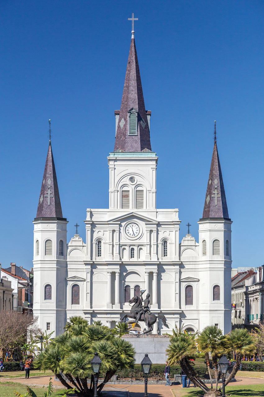 Saint Louis Cathedral overlooking Jackson Square.