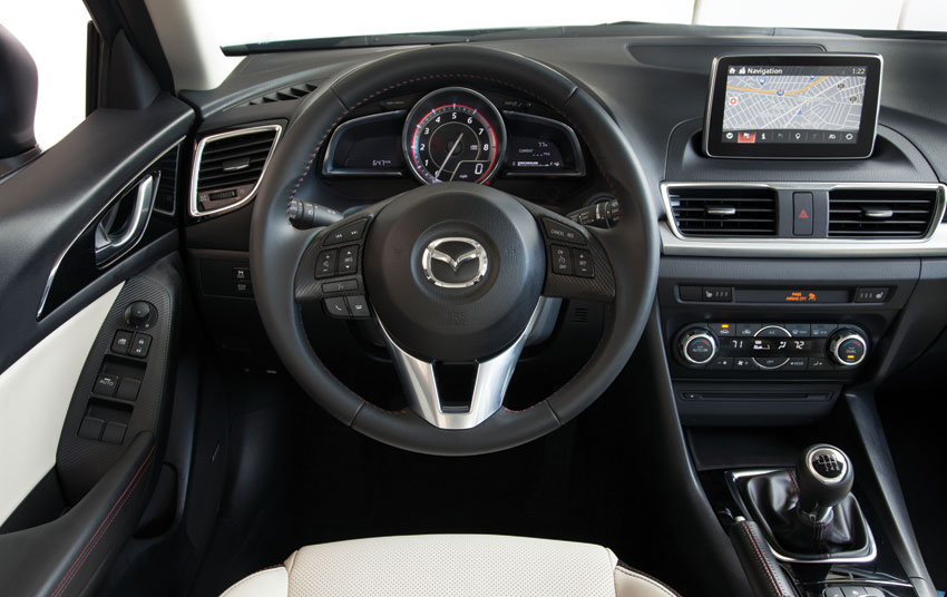 Interior view of the 2015 Mazda3.