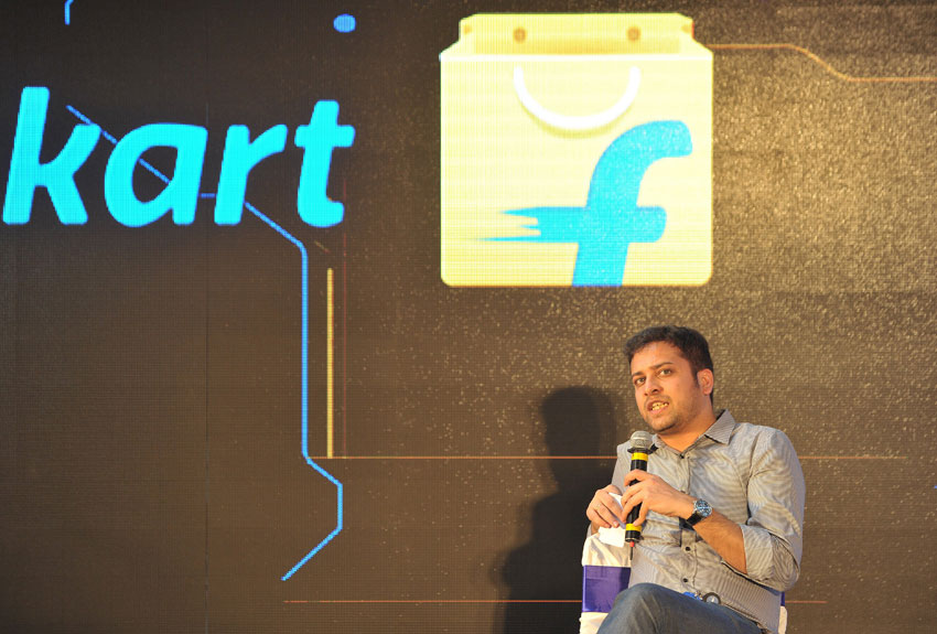 File photo of Binny Bansal, Chief Operating Officer and co-founder of Flipkart, as he speaks during the launch of Flipkart's largest fulfillment center on the outskirts of Hyderabad, October 30, 2015.  Flipkart is India's leading e-commerce marketplace offering over 30 million products across 70 plus categories including books, media, consumer electronics and lifestyle. (Noah Seelam | AFP | Getty Images)