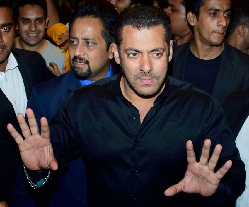 Salman Khan at Preity Zinta's wedding reception in Mumbai, May 13. (Press Trust of India)