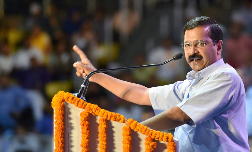File photo of Delhi Chief Minister Arvind Kejriwal addressing at Bhimrao Ambedkar's 125th birth anniversary celebrations at Talkatora Stadium in New Delhi, April 14. (Vijay Verma | PTI)