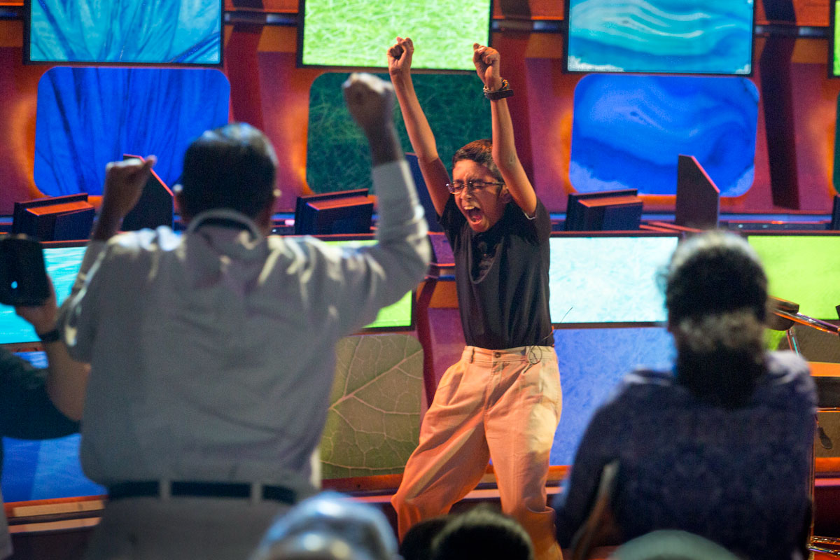 2016 National Geographic Bee champion Rishi Nair, 12, of Florida celebrates his win at National Geographic headquarters in Washington, D.C., on May 25. (Rebecca Hale | National Geographic)