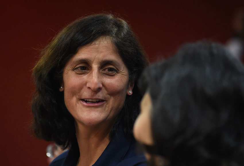 Astronaut Sunita Williams speaks during an event on women's empowerment – Science, Technology, Engineering and Mathematics (STEM) Education, at the Federation of Indian Chambers of Commerce and Industry meet in New Delhi, Feb. 25. (Sajjad Hussain | AFP | Getty Images)