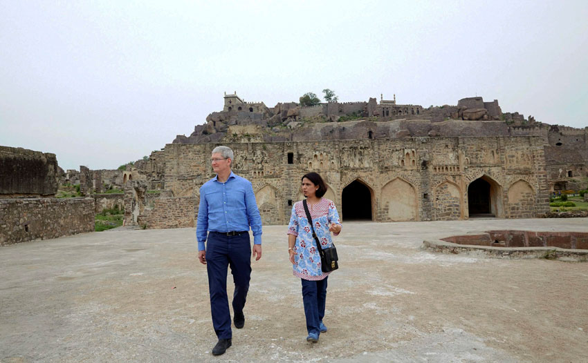 Apple CEO Tim Cook visits the Golconda Fort in Hyderabad, May 19. (Press Trust of India)