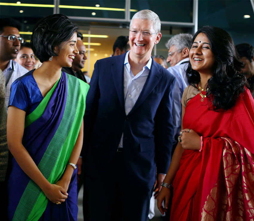 Apple's CEO Tim Cook (l) during the inauguration of the company's development office in Hyderabad, May 19. (Press Trust of India)