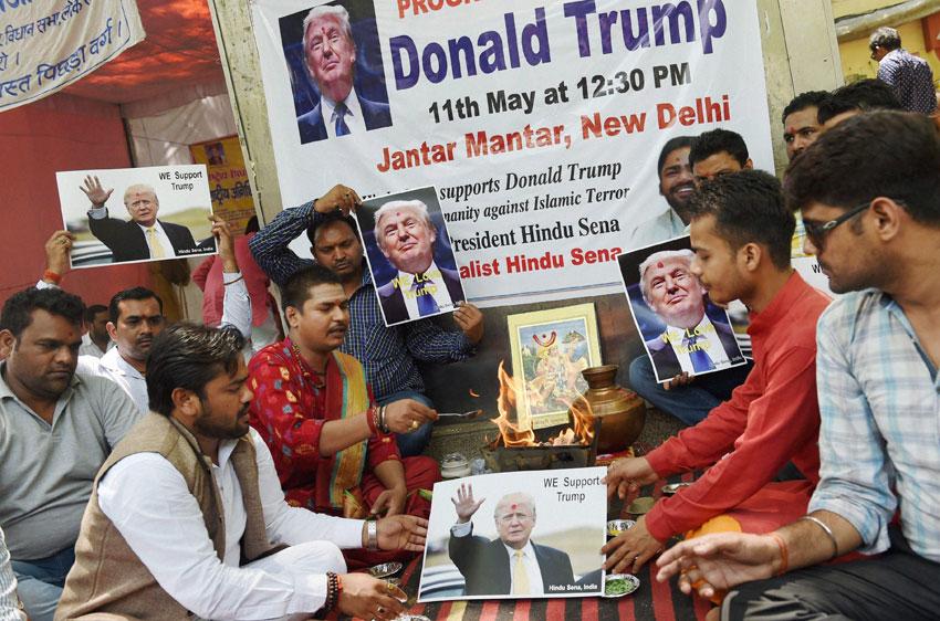 Hindu Sena activists organize a 'havan' in support of Republican U.S. Presidential hopeful Donald Trump at Jantar Mantar, in New Delhi, May 11. (Subhav Shukla  | PTI)