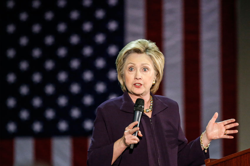 Democratic presidential candidate Hillary Clinton speaks at a rally on May 11, in Blackwood, New Jersey. (Kena Betancur | AFP | Getty Images)