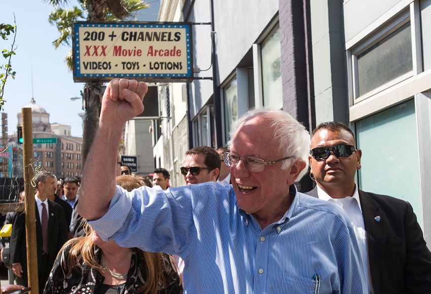 Democratic presidential candidate Bernie Sanders takes a walk between rallies in San Francisco, May 18.  (Josh Edelson | AFP | Getty Images)