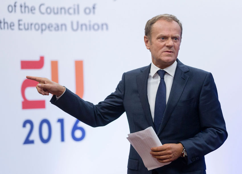 EU Council President Donald Tusk leaves after a statement on Brexit at the EU Headquarters in Brussels on June 24. Britain has voted to break out of the European Union, striking a thunderous blow against the bloc and spreading panic through world markets on June 24 as British Pound Sterling collapsed to a 31-year low. (John Thys | AFP | Getty Images)