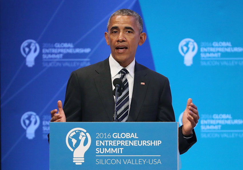 President Barack Obama speaks during the 2016 Global Entrepreneurship Summit at Stanford University on June 24, in Stanford, California. President Obama joined Silicon Valley leaders on the final day of the Global Entrepreneurship Summit.  (Justin Sullivan | Getty Images)