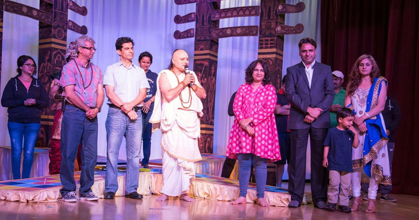"Manoj Joshi as ""Chanakya"" with organizers Bikramjeet Singh (3rd from r), his wife and son, and crew at ICC in Milpitas, Calif., May 28. (Raj Budwal)"