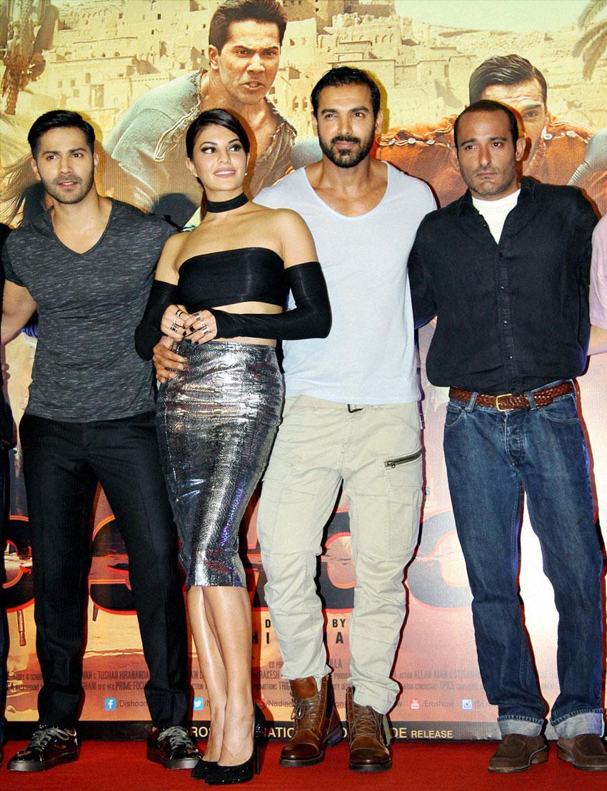 "Varun Dhawan, Jacqueline Fernandez, John Abraham and Akshaye Khanna (r) during the trailer launch of ""Dishoom"" in Mumbai, Jun. 1. (Press Trust of India)"
