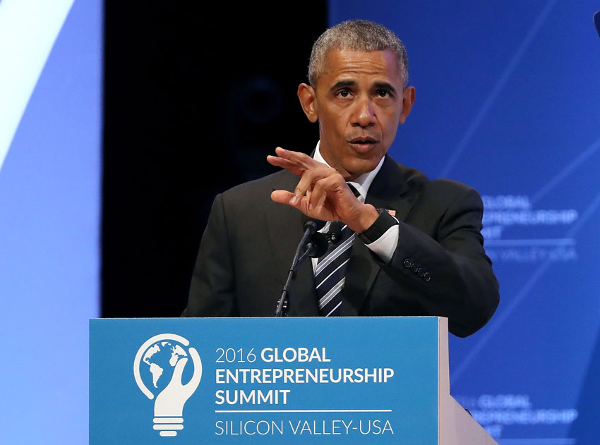 President Barack Obama speaks during the 2016 Global Entrepreneurship Summit at Stanford University, June 24, in Palo Alto, Calif. President Obama joined Silicon Valley leaders on the final day of the Global Entrepreneurship Summit.  (Justin Sullivan | Getty Images)