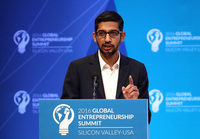Google CEO Sundar Pichai speaks during the 2016 Global Entrepreneurship Summit at Stanford University, June 24. President Obama joined Silicon Valley leaders on the final day of the Global Entrepreneurship Summit.  (Justin Sullivan | Getty Images)
