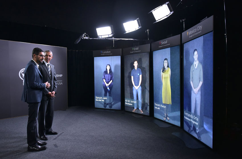 President Barack Obama and Google CEO Sundar Pichai take part in a Google Portal virtual conversation at Stanford University in Palo Alto, Calif., June 24. (Mandel Ngan | AFP | Getty Images)