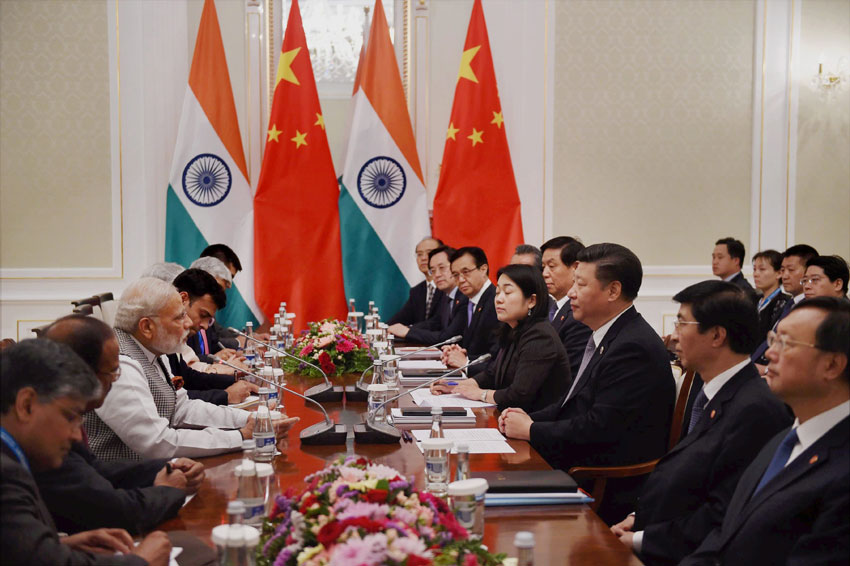 Prime Minister Narendra Modi with Chinese President Xi Jinping during a meeting in Tashkent, June 23, on the sidelines of SCO Summit. (Subhav Shukla   PTI)