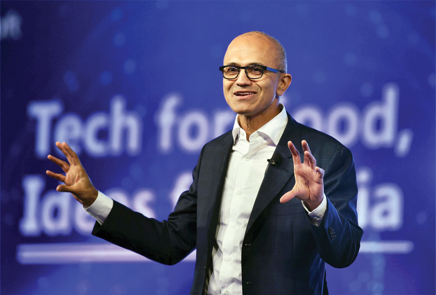 Microsoft CEO Satya Nadella delivering keynote address at the company's 'Tech For Good, Ideas for India' event in New Delhi, May 30. (Shahbaz Khan   PTI)