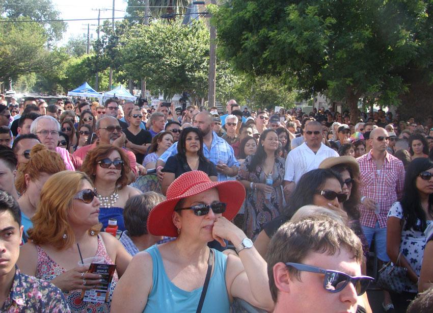 Crowd attending.