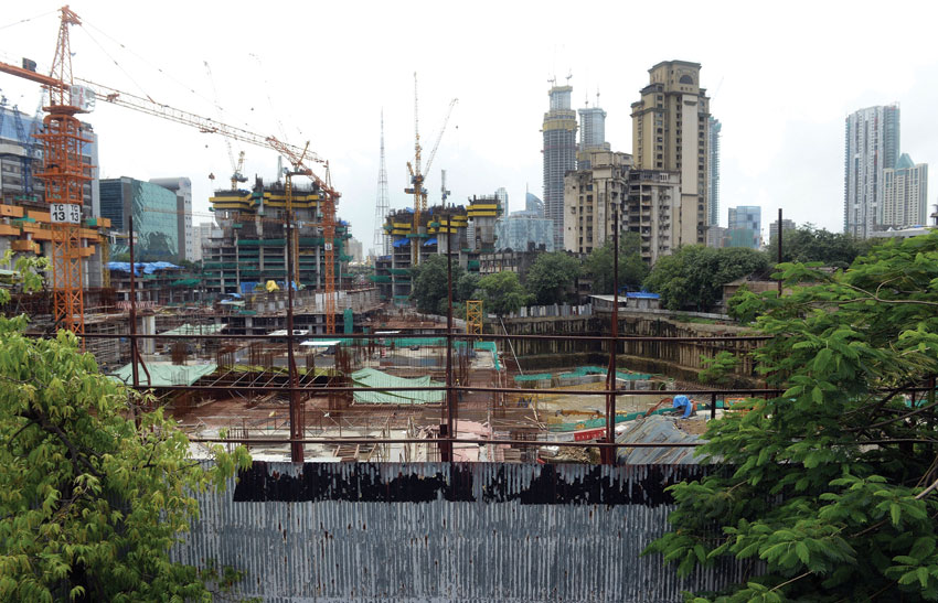 "A general view of the construction site of the under-construction luxury apartment block, ""The Park"" also dubbed as ""Trump Tower"" in Mumbai, July 31, 2015. The development is not owned by billionaire and U.S. presidential hopeful Donald Trump, but bears his name under a license agreement. (Indranil Mukherjee 