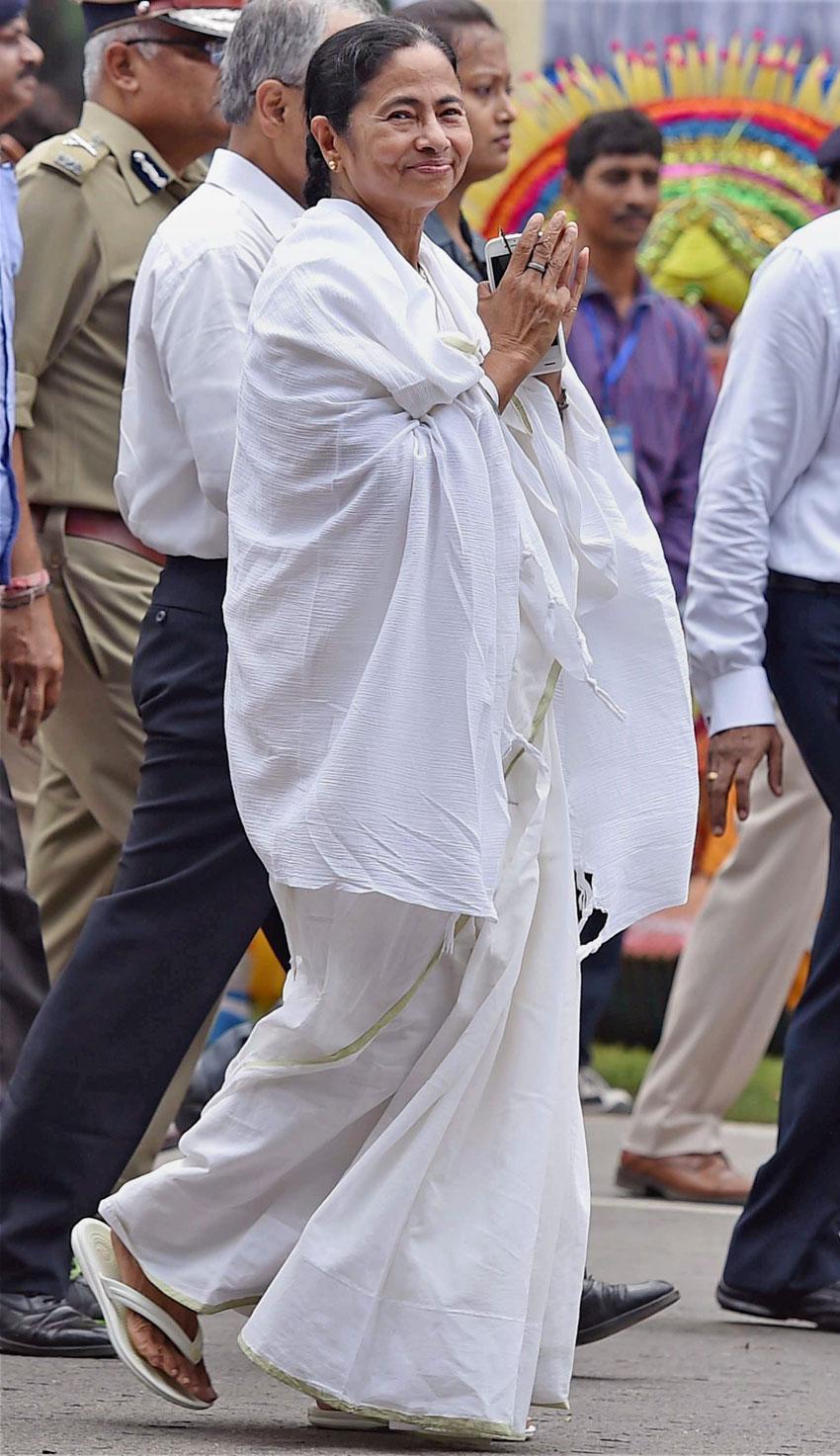 West Bengal Chief Minister Mamata Banerjee arrives at her swearing in ceremony in Kolkata, May 27. (Ashok Bhaumik | PTI)
