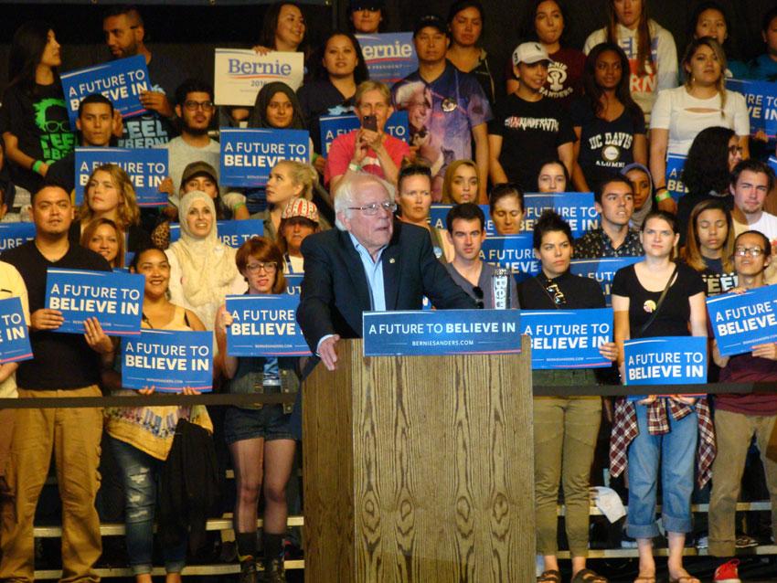 Senator Bernie Sanders speaking in Sacramento.