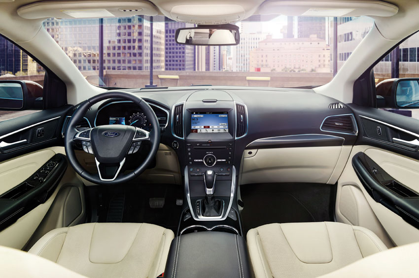Interior view of 2016 Ford Edge Sport AWD.
