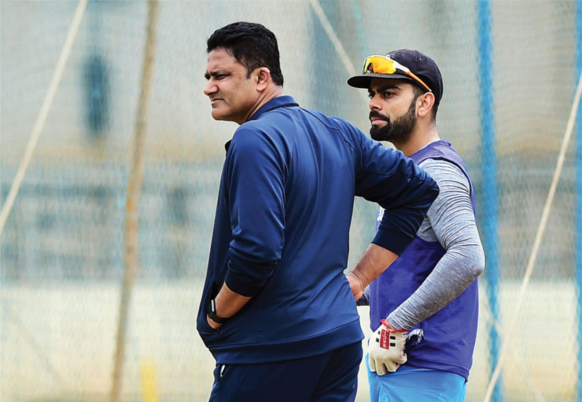 Team India Head Coach Anil Kumble and Skipper Virat Kohli during the preparatory camp ahead of West Indies tour at National Cricket Academy ground in Bengaluru, July 1. (Shailendra Bhojak | PTI)