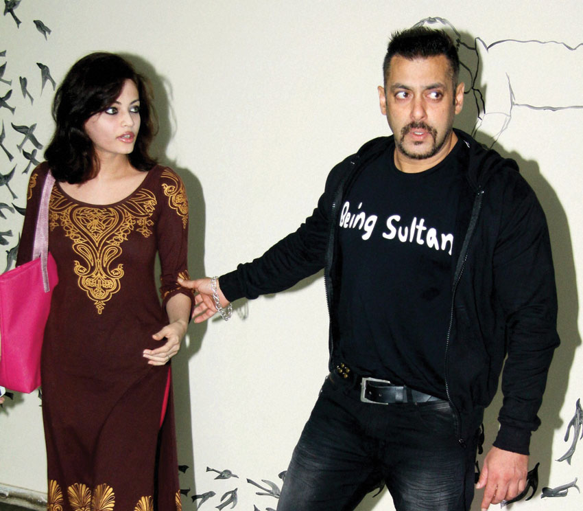 """Salman Khan and Sneha Ullal arrive to attend the premiere of film """"Begum Jaan"""" in Mumbai, July 2. (Press Trust of India)"""