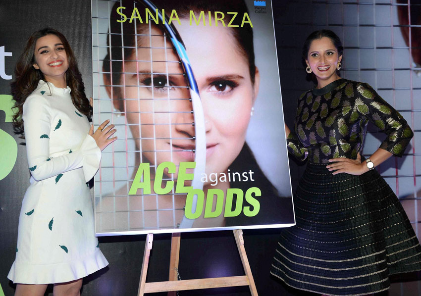 """Parineeti Chopra (l) and Sania Mirza at the release of """"Ace against Odds,"""" an autobiography of Sania Mirza in New Delhi, July 15. (Press Trust of India)"""