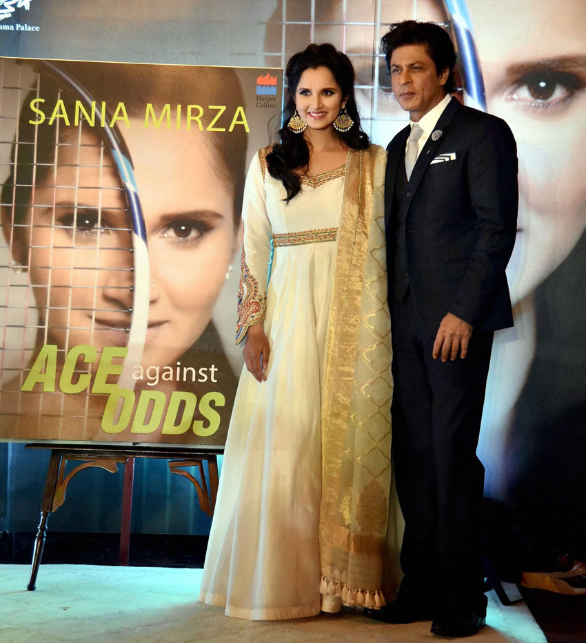 """Sania Mirza and Shah Rukh Khan at the release function of """"Ace Against Odds,"""" in Hyderabad, July 13. (Press Trust of India)"""