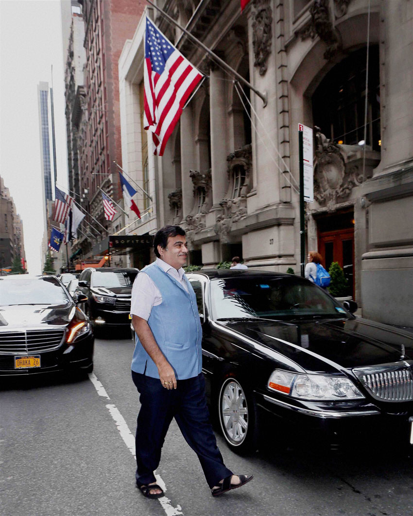 Nitin Gadkari walking towards the Harvard Club to attend a meeting with Indo American Chamber of Commerce in New York, July 13. (Press Trust of India)