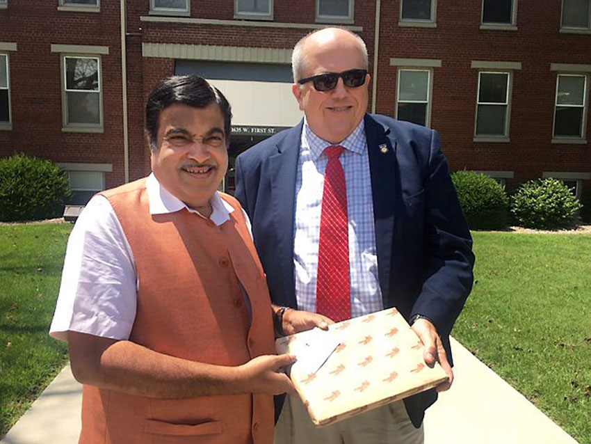 Nitin Gadkari during a visit to Mississippi Inland Waterways, July 14. (Press Trust of India)