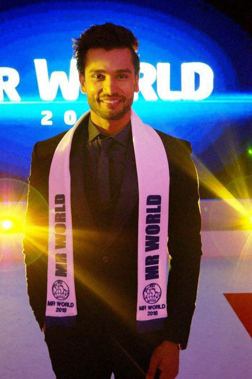 Indian model and TV personality Rohit Khandelwal after winning the Mr. World 2016 beauty pageant in Southport, UK, July 19. (Press Trust of India)
