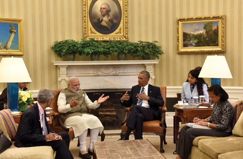 Prime Minister Narendra Modi meeting the President Barack Obama in Oval Office, at the White House, in Washington, D.C., June 7. (Press Information Bureau)