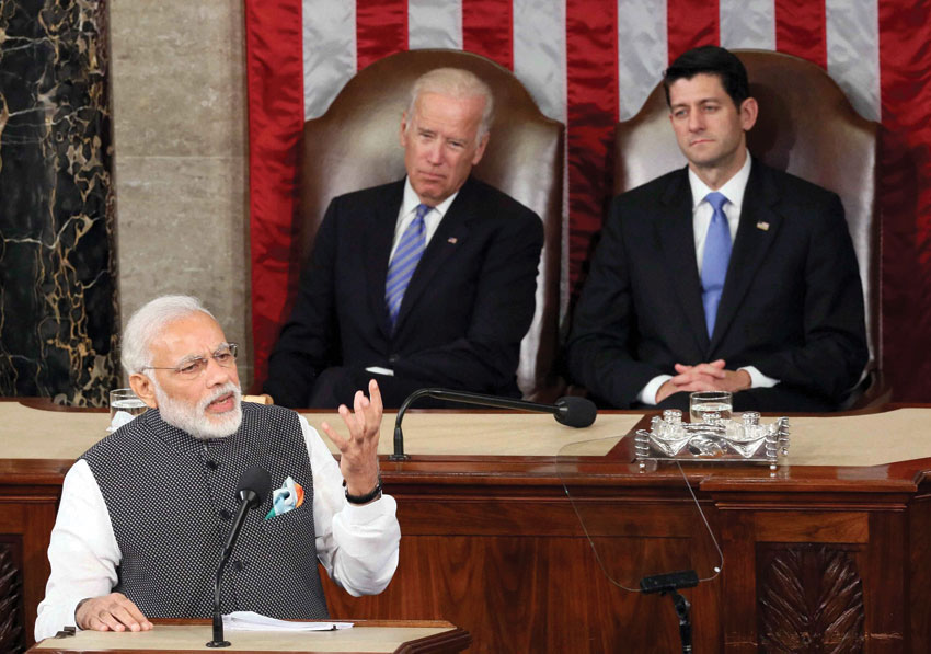 Prime Minister Narendra Modi addresses to the Joint Session of U.S. Congress, in Washington D.C., June 8. (Press Trust of India)
