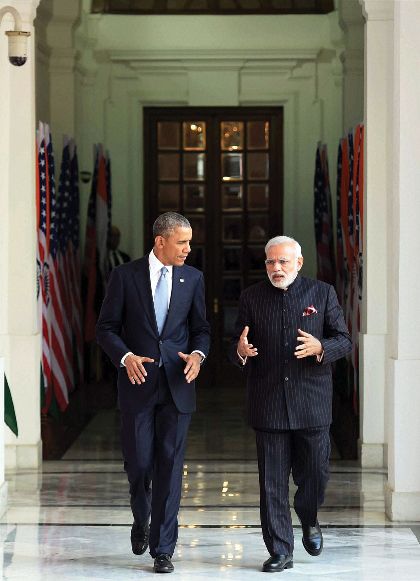 File photo of Prime Minister Narendra Modi and President Barack Obama prior to a meeting at Hyderabad House, in New Delhi, during Obama's visit in 2015. (Atul Yadav | PTI)