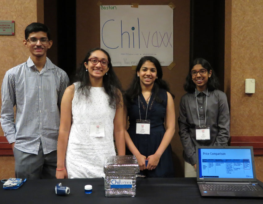 Third place winners, Chilvaxx team from TiE Boston.