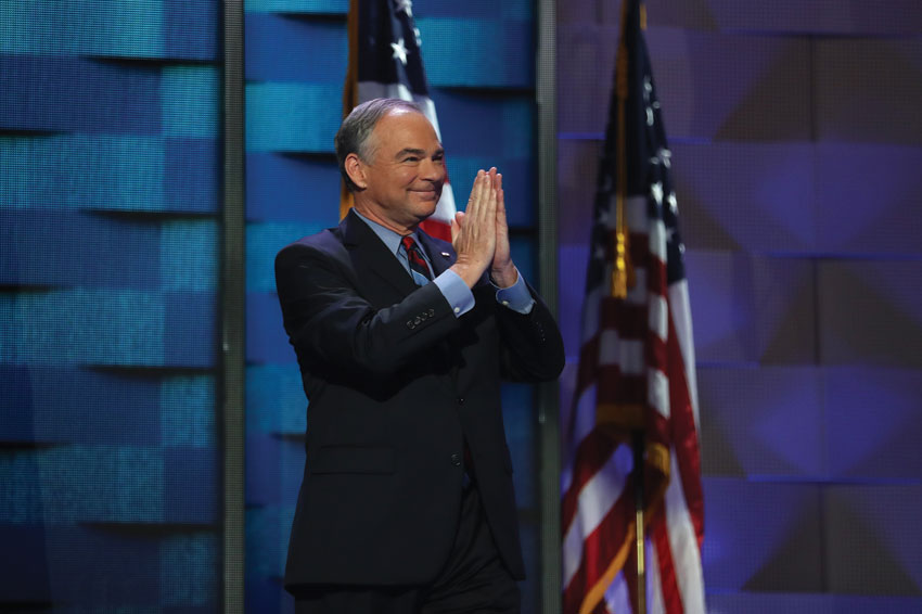 Vice President nominee Tim Kaine acknowledges the crowd prior to delivering remarks on the third day of the Democratic National Convention at the Wells Fargo Center, July 27, in Philadelphia, Pennsylvania. (Joe Raedle | Getty Images)