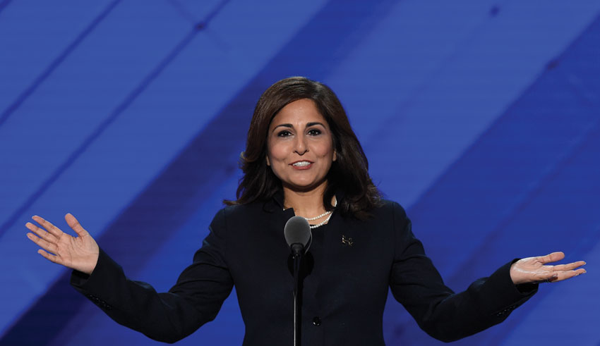 Neera Tanden, president of the Center for American Progress Action Fund, speaks during the third day of the Democratic National Convention at the Wells Fargo Center, July 27, in Philadelphia, Pennsylvania. (Saul Loeb | AFP | Getty Images)