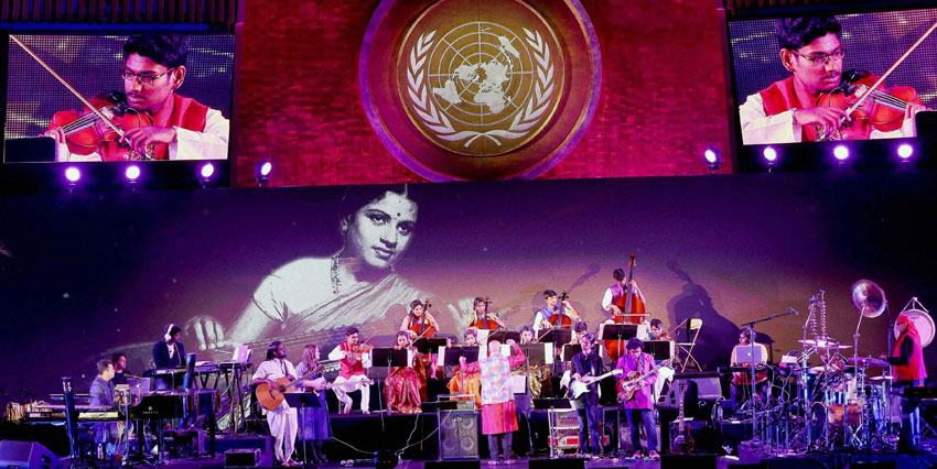 A.R. Rahman and his troupe perform at the UN General Assembly Hall on the occasion of India's 70th Independence Day and commemoration of the birth centenary of music legend M.S. Subbulakshmi at United Nations General Assembly, Aug. 15. (Press Trust of India)
