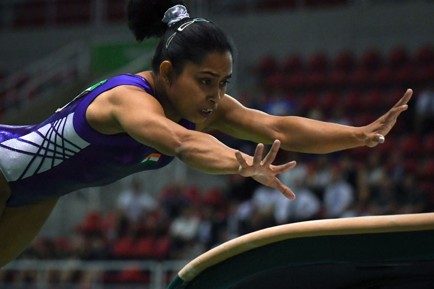 India's Dipa Karmakar competes during the artistic gymnastics test event Women's Vault final for the Rio 2016 Olympic games at the Rio Olympic Arena of the Olympic Park in Rio de Janeiro, Brazil, April 18. (Yasuyoshi Chiba | AFP | Getty Images)