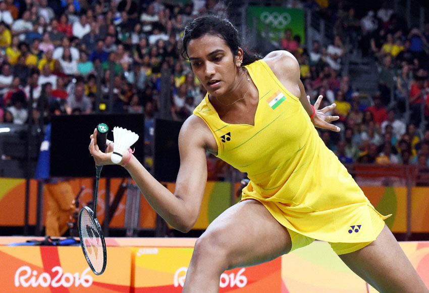 India's Pusarla V. Sindhu in action against Spain's Carolina Marin in women's Singles final at the 2016 Summer Olympics in Rio de Janeiro, Brazil, Aug. 19. (Atul Yadav | PTI)