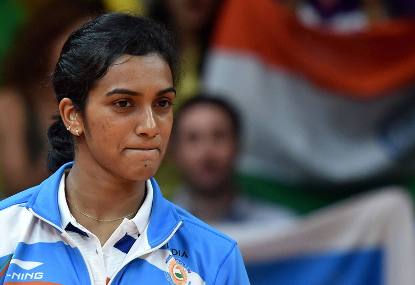 India's Pusarla V. Sindhu after winning silver medal in women's Singles final at the 2016 Summer Olympics in Rio de Janeiro, Brazil, Aug. 19. (Atul Yadav | PTI)